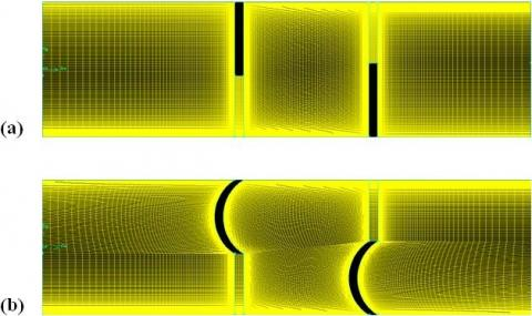 Study of air flow around flat and arc-shaped baffles in shell-and